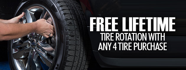 Free Lifetime Tire Rotation with any 4 Tire Purchase